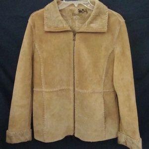 GUESS Tan Suede Coat BOHO Zip Jacket Faux Fur